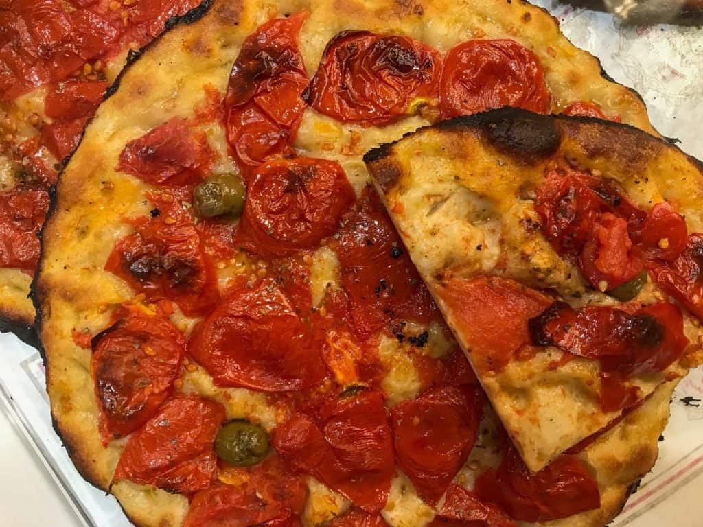 Focaccia Barese with Cherry Tomatoes and Green Olives