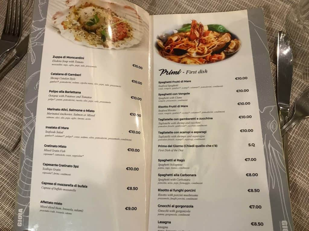Italian Restaurant Menu with Pictures of Food