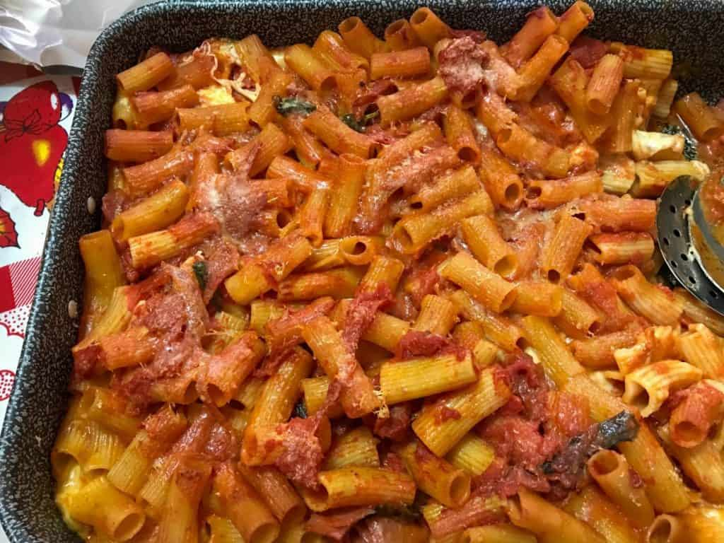 Baked Pasta in a Baking Pan with Tomato Sauce, Cheese and Ham