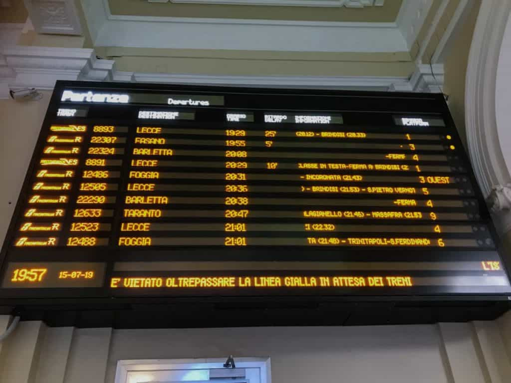 Black Table in the Train Station with Departures and Schedule