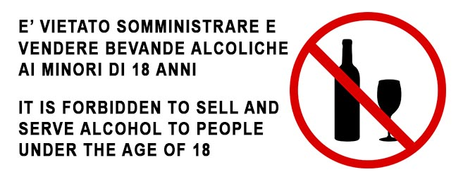 Sign with a red circle and a bottle silhouette