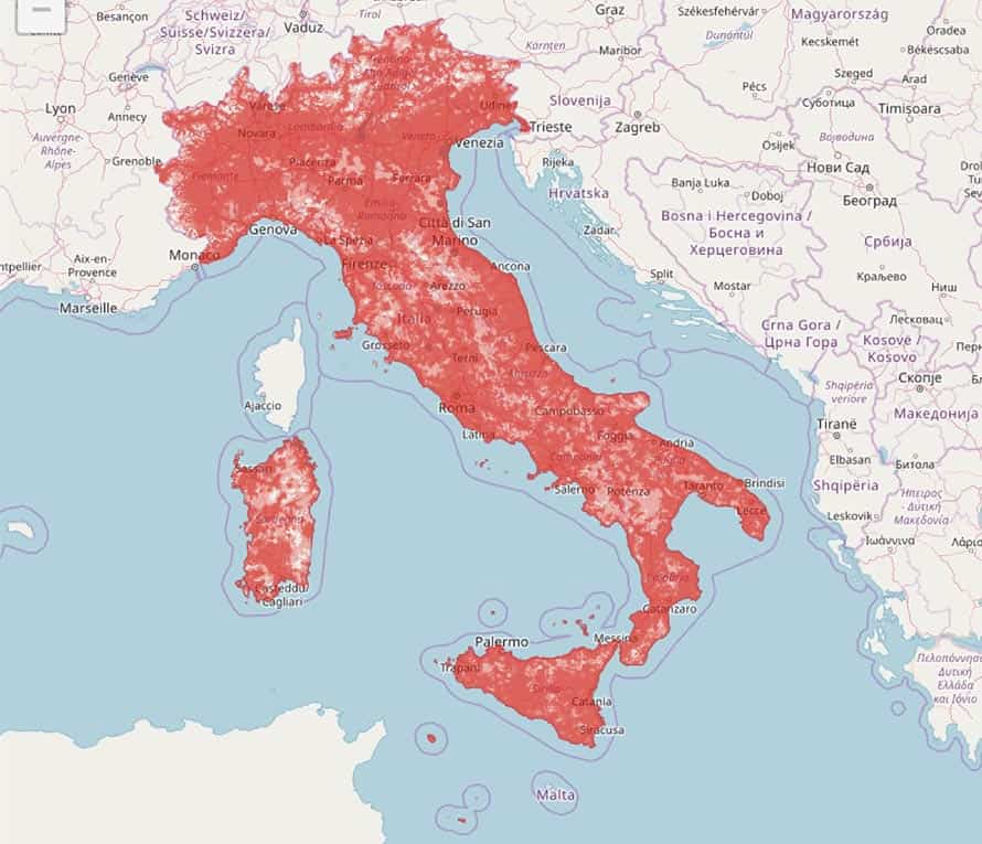 Italy map zone red coverage