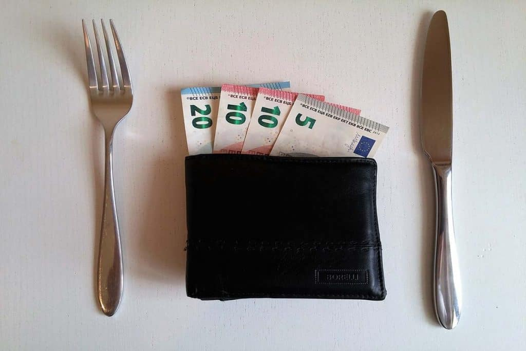 Wallet with euro banknotes inside and cutlery