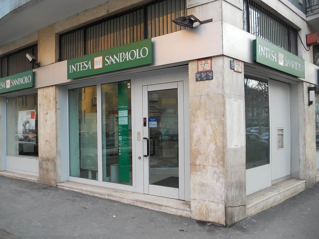Bank with a green sign at the top