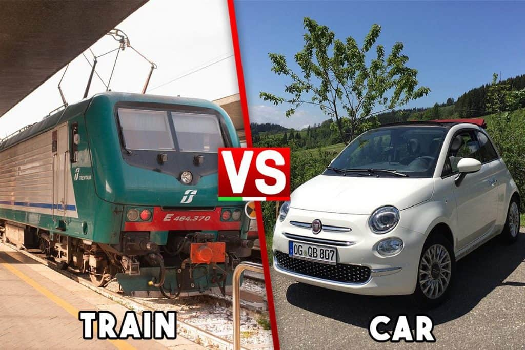 Comparison between a green train on the left and a white small car on the right