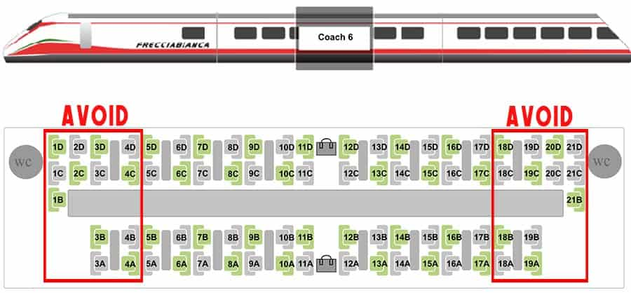 Train seats selection menu