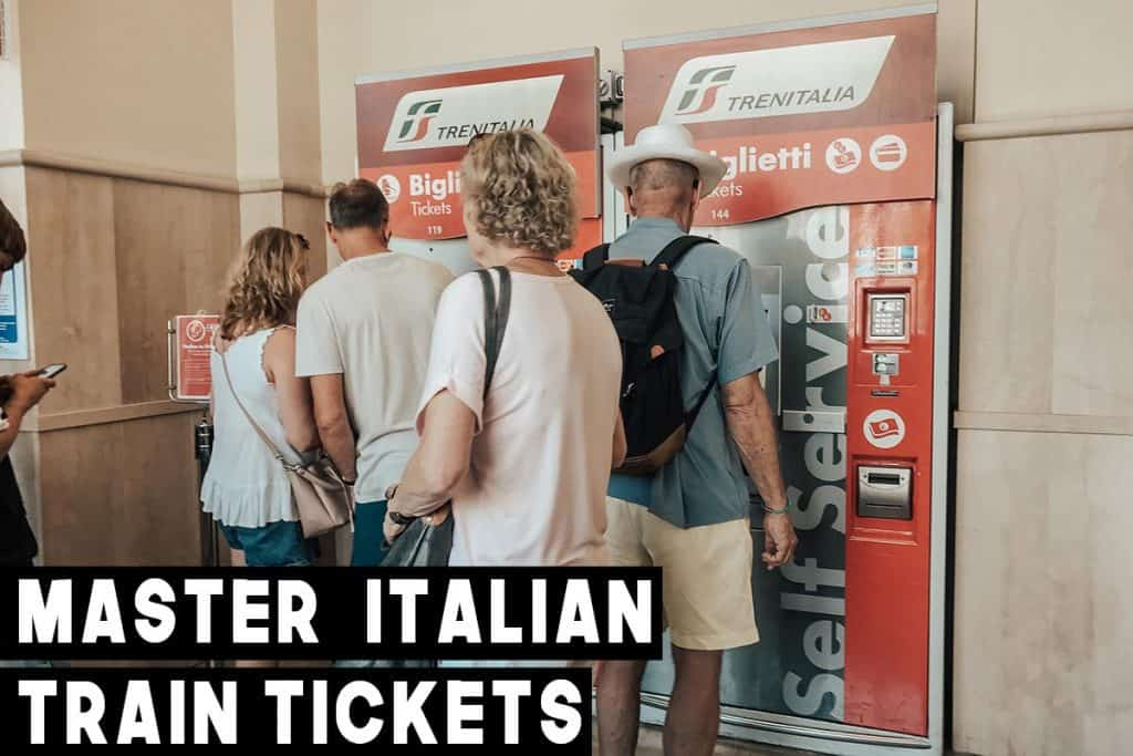 People standing out a red train ticket machine from Trenitalia
